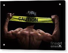 Caution Acrylic Print by Jane Rix