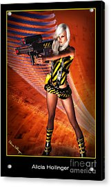 Caution Sci-fi Blonde With A Gun Acrylic Print