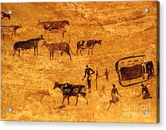 Cave Painting South Algeria Acrylic Print by George Holton