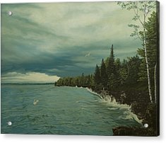 Cave Point Acrylic Print by James Willoughby III