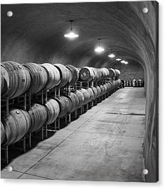 Cave Storage Of Wine Barrels Acrylic Print by Kent Sorensen