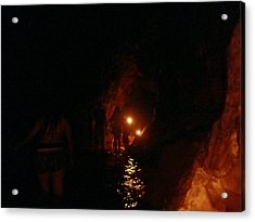 Caving With Candles And Cutoffs Acrylic Print