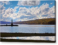 Acrylic Print featuring the photograph Cayuga Lake In Colorful Fall Ithaca New York IIi by Paul Ge