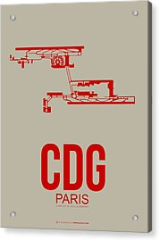 Cdg Paris Airport Poster 2 Acrylic Print by Naxart Studio