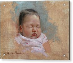 Cece At 5 Weeks Old Acrylic Print by Anna Rose Bain