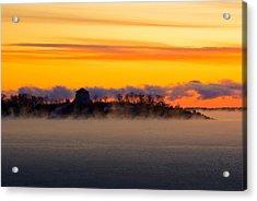 Cedar Island Morning Mist Acrylic Print by Paul Wash