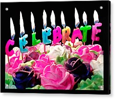 Acrylic Print featuring the photograph Cake Topped With Flowers And Celebrate Candles by Vizual Studio