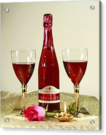 Celebrate With Sparkling Rose Wine Acrylic Print by Inspired Nature Photography Fine Art Photography