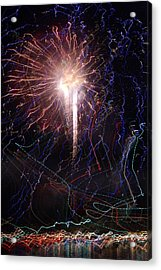 Celebration Fireworks Grand Lake Co 2007 Acrylic Print by Jacqueline Russell
