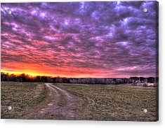 Celestial Winter Sunset And The Way Home Acrylic Print by Reid Callaway