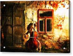 Cellist By Night Acrylic Print