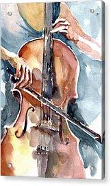 Acrylic Print featuring the painting Cellist by Faruk Koksal