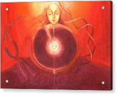 Cellular Yoga Acrylic Print by Shiva  Vangara