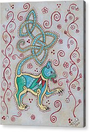 Celtic Cattus Acrylic Print by Beth Clark-McDonal
