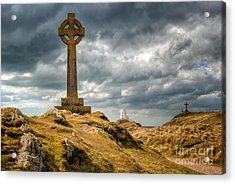 Celtic Cross At Llanddwyn Island Acrylic Print by Adrian Evans
