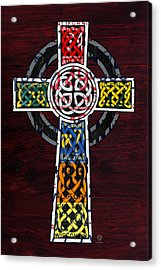 Celtic Cross License Plate Art Recycled Mosaic On Wood Board Acrylic Print by Design Turnpike