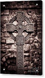 Celtic Cross Lindisfarne Priory Acrylic Print
