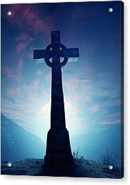 Celtic Cross With Moon Acrylic Print by Johan Swanepoel