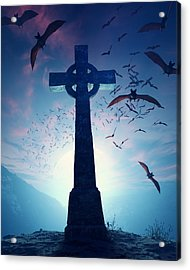 Celtic Cross With Swarm Of Bats Acrylic Print by Johan Swanepoel