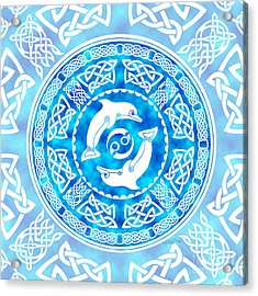 Acrylic Print featuring the mixed media Celtic Dolphins by Kristen Fox