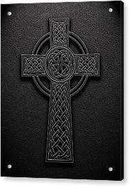 Acrylic Print featuring the digital art Celtic Knotwork Cross 1 Black Leather Texture by Brian Carson