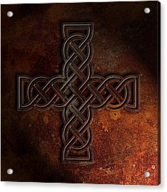 Celtic Knotwork Cross 2 Rust Texture Acrylic Print