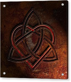 Acrylic Print featuring the digital art Celtic Knotwork Valentine Heart Rust Texture 1 by Brian Carson