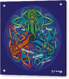 Celtic Mermaid Mandala Acrylic Print