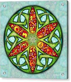 Acrylic Print featuring the mixed media Celtic Summer Mandala by Kristen Fox