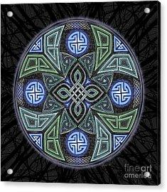 Acrylic Print featuring the mixed media Celtic Ufo Mandala by Kristen Fox
