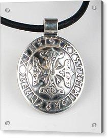 Acrylic Print featuring the jewelry Celtic Viking Cross Rune Calendar by Vagabond Folk Art - Virginia Vivier