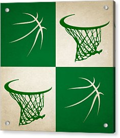 Celtics Ball And Hoop Acrylic Print by Joe Hamilton