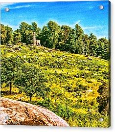 Cemetary Ridge Gettysburg Battleground Acrylic Print by Bob and Nadine Johnston