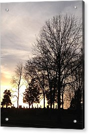 Cemetery Sunset Acrylic Print by Jerry Browning