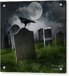 Cemetery With Old Gravestones And Moon Acrylic Print