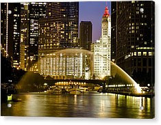Centennial Fountain Over Chicago River At Dusk Acrylic Print
