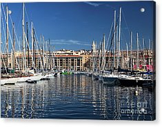 Centered In The Port Acrylic Print by John Rizzuto