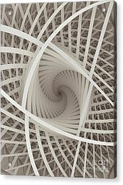 Centered White Spiral-fractal Art Acrylic Print by Karin Kuhlmann