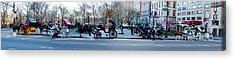 Central Park Horse Carriage Station Panorama Acrylic Print