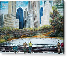 Central Park Ice Rink Acrylic Print by Mitchell McClenney