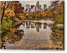 Central Park In The Fall New York City Acrylic Print by Sabine Jacobs