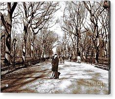 Central Park Kiss Acrylic Print by John Rizzuto