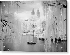 Acrylic Print featuring the photograph Central Park Lake-infrared Willows by Dave Beckerman