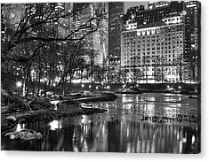 Acrylic Print featuring the photograph Central Park Lake Night by Dave Beckerman