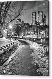 Central Park Path Night Black & White Acrylic Print by Michael Lee