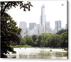 Central Park Pond Acrylic Print by Robert Daniels