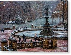 Central Park Snow Storm Acrylic Print