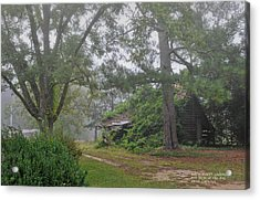Century-old Shed In The Fog - South Carolina Acrylic Print by David Perry Lawrence