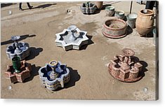 Ceramic Fountains In Yard Of Pottery Acrylic Print by Panoramic Images