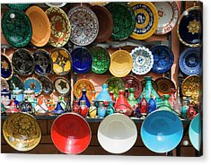 Ceramics For Sale, Souk, Medina Acrylic Print by Nico Tondini